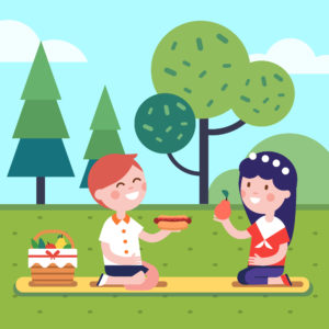 Boy and girl kids having lunch picnic at the park grass. Smiling kids characters. Modern flat vector illustration clipart.